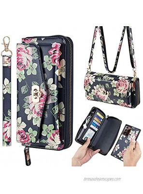 AIFENGCASE Compatible with Samsung Galaxy S21 Crossbody Chain Shoulder Strap Zipper Wallet Case Leather Bag Clutch Handbag Magnetic Detachable Case for Women,BF