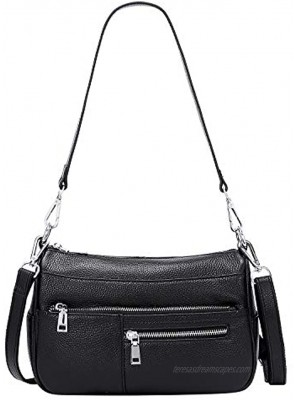 OVER EARTH Genuine Leather Shoulder Bag Small Crossbody Handbags for Women Ladies Purse