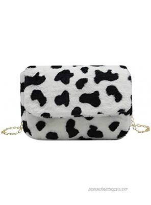 RARITYUS Women Fashion Leopard Print Shoulder Bag Fluffy Plush Handbag Cow Print Crossbody Purse Faux Furwith Chain Strap
