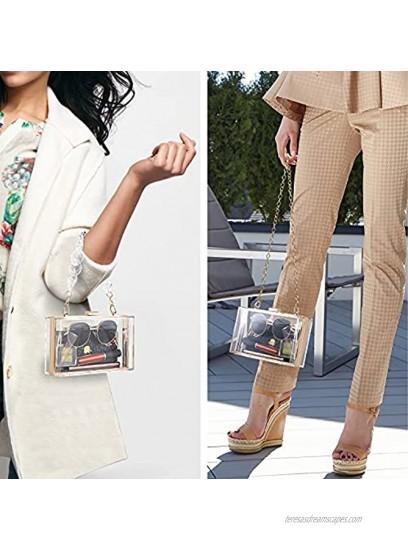 WJCD Women Clear Purse Acrylic Clear Clutch Bag Transparent Crossbody Purse Evening Bag Double Chain
