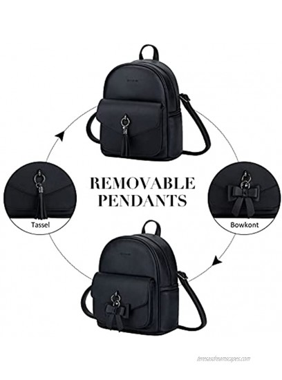 ECOSUSI Mini Backpack for Women Cute Bowknot Small Backpack Purse Girls Leather Bookbag Ladies Satchel Bags,with Charm Tassel