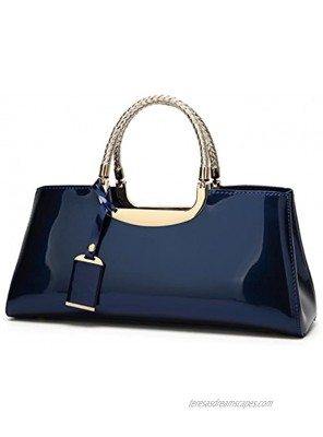 Glossy Faux Patent Leather Structured Shoulder Handbag Women Evening Party Satchel