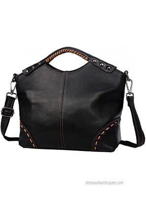 Heshe Womens Genuine Leather Vintage Shoulder Handbags Crossbody Bag Satchel Purse