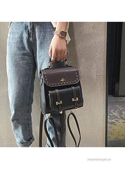 Little Bee Women's Faux Leather Mini Backpack Designer Cute Girls Convertible Purse Stylish Casual Satchel Black