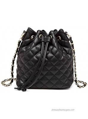 MCK Quilted Bucket Crossbody Bag and Purse for Women Drawstring Vegan Leather Shoulder Bags Lightweight Handbags