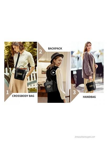 Small Handbag for Women 3 in 1 Leather Crossbody Shoulder Bag Tote Bag Top Handle Handbag Clutch Cell Phone Mini Backpack Purse Wallet and Satchel Black