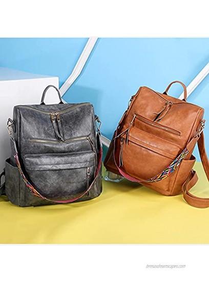Women Backpack Purse Vintage Rucksack Convertible Shoulder Bag Travel Daypack Brown