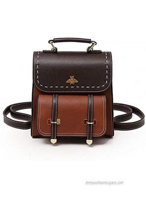 Women Small Fashion Backpack Retro Mini Daypack Casual Satchel Purse Contrast Color Design Brown