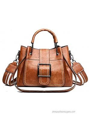 Women Small Leather Satchel Handbags Tote Top-handle Shoulder Bag Multi-pocket Messenger Bag for Ladies