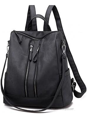 Women's Fashion Purse Backpack Girls Handbags and Shoulder Bag PU Leather Lady Travel Satchel bag rucksack backpack for women 6062 Black