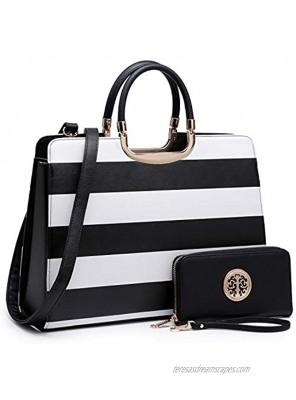 Womens Handbag Top Handle Shoulder Bag Tote Satchel Purse Work Bag with Matching Wallet