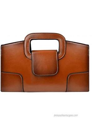 ZLMBAGUS Women Vintage Flap Tote Top Handle Satchel Handbags PU Leather Clutch Purse Shoulder Bag