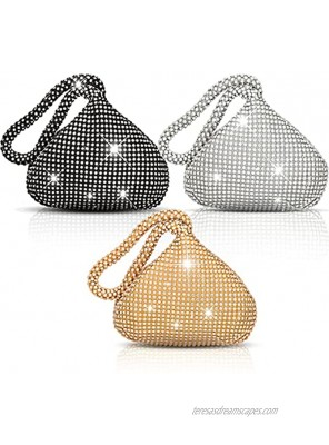 3 Pieces Gold Clutch Purses for Women Silver Black Rhinestone Clutch Triangle Evening Bag Glitter Luxury Design Purse Sparkly Chain Handbag for Wedding Cocktail Party Prom Bridesmaid Lady Girl