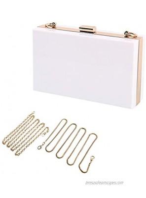 L-COOL Cute Transparent Acrylic Shoulder Bag Clear Crossbody Evening Clutch Purse Handbag With 2 Gold Chain For Women