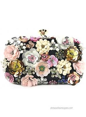 Lanpet Women Clutches Flower Evening Handbag Chain Strap Shoulder Bag