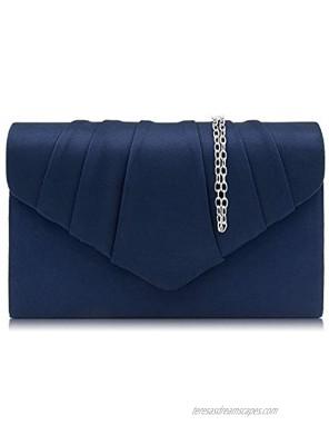 Milisente Women Evening Bag Suede Pleated Clutch Purse Envelope Clutches