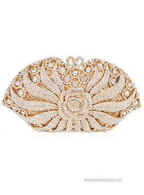 MUUHOO Luxury Crystal Clutch for Women 3D Flower Rhinestone Evening Bag Gold Medium
