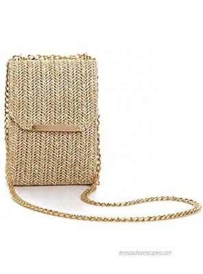 RAPENG Lightweight Straw Clutch Bag Bohemian Style Cross body bag for Women Girls Handmade Evening Bag