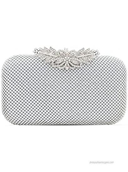 TOPFIVE Women Rhinestones Crystal Clutch Wedding Prom Purse Evening Handbag Party Bag with Flora Clasp