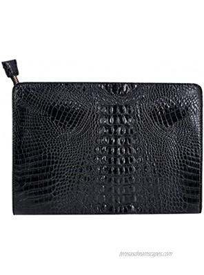 Van Caro Oversized Leather Crocodile Clutch Envelope Purse Evening Handbag for Women