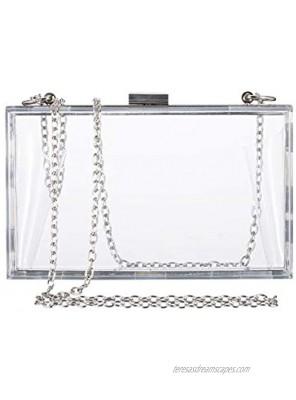 Women Clear Purse Bag Acrylic Box Clutch Crossbody Shoulder Handbag with Metal Chain Strap
