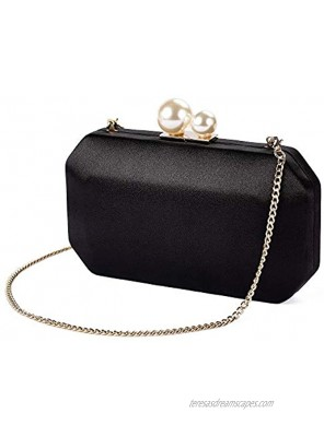 Women Satin Clutch Purse Handbags Crossbody Hardcase Evening Bag with Pearls Closure for Party