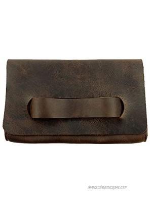 Hide & Drink Leather Clutch Bag With Handle Handbag Pocketbook Travel Handmade Includes 101 Year Warranty :: Bourbon Brown