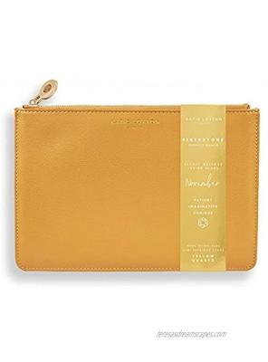Katie Loxton Birthstone Jewel Shade Womens Medium Vegan Leather Sentiment Perfect Pouch November Ochre Yellow