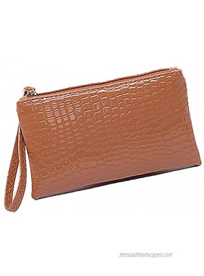 Ladies crocodile pattern clutch large-capacity coin purse 5.5 inch mobile phone PU leather bag Brown