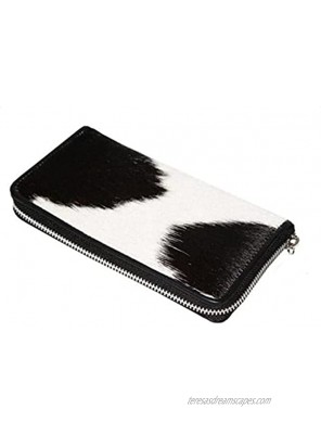 Womens Zipper Wristlet Clutch Black White Cow Hide Cow Skin Leather Hand Clutch Zip Phone Wallet Clutch Card Case 8' X 4' Gift for her