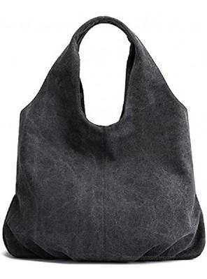 AUSTARK Womens Hobo Handbag Cotton Canvas Shoulder Bag Multi-pocket Tote Bag Casual Daily Purse