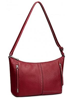 S-ZONE Women Shoulder Hobo Purses and Handbag Medium Genuine Leather Crossbody Bags