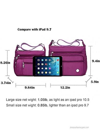 Waterproof Nylon Shoulder Crossbody Bags Handbag Zipper Pocket Tote Bag Purses Satchel for Ladies Women Girls
