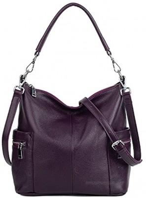 YALUXE Shoulder Bag Women's Multi Pocket Soft Cowhide Leather Medium Purse Style