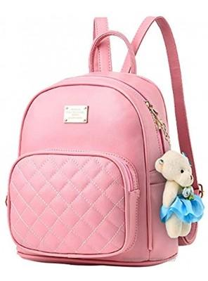 Mini Backpack Purse for Women Leather Cute Fashion Small Backpack Girls Bookbag,Pink