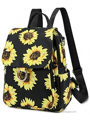 Mini Backpack Purse Girls Womens Convertible Backpacks Water-resistant Small Casual Shoulder Bag for Teenage Kids Travel Purse Sunflower