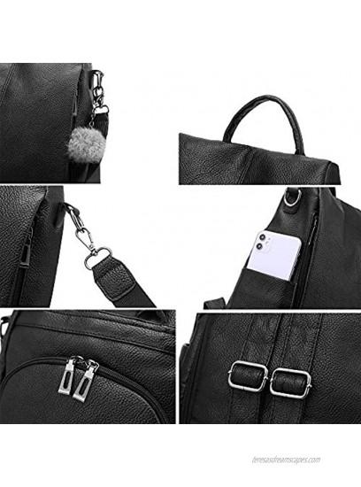 Nevenka Women Backpack Purse PU Leather Anti-theft Casual Daypack Lightweight Travel Shoulder Bag XX808