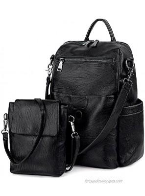 UTO Women Backpack Purse Ladies Rucksack Detachable Crossbody Shoulder Bag PU Leather Nylon Fabric Version
