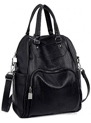 UTO Women Backpack Purse PU Washed Leather Convertible Ladies Rucksack Crossbody Shoulder Bag
