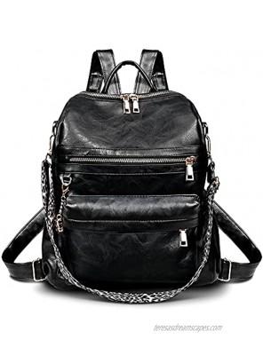 Women Backpack Purse for Ladies Girls Fashion PU Leather Mini Shoulder bag Travel School Lightweight Convertible Multipurpose Design Zipper Waterproof Anti-theft Satchel Black