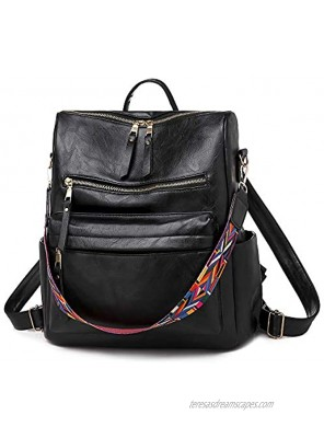 Women Backpack Purse PU Leather Ladies Rucksack Girls Casual Shoulder Bag Woman Travel Daypack with Colorful strap black