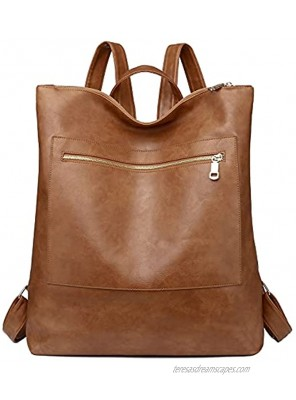 Women Fashion Backpack Purse Multi-Purpose Shoulder Casual Daypack Large Capacity Bags Brown