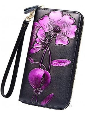 Badiya Women Rfid Blocking Wallet Embossed Zip Around Clutch Purse with Wristlet