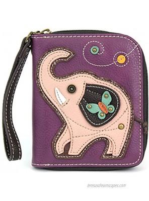 Charming Chala Wallet Credit Cards Coins Wristlet Purple Elephant