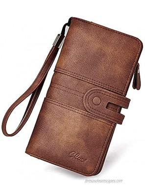 CLUCI Women Wallet Large Leather Designer Card Holder Organizer Long Ladies Travel Clutch Wristlet Brown