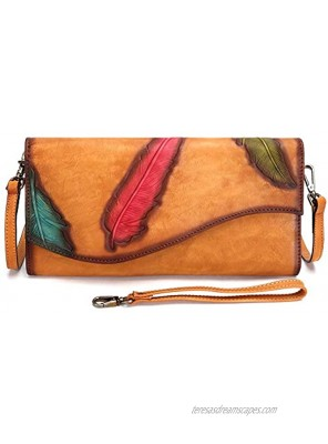 Genuine Leather Wristlet Purse Wallet for Women Feather Pattern Embossing Clutch Vintage Handmade Crossbody Dual Use Bag