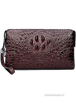 Hebetag Leather Clutch Purse Wallet for Men Organizer Holder Wrist Bag