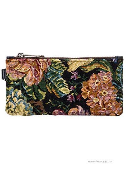 Patricia Nash Almeria Credit Card Leather Wristlet Woven Floral Tapestry