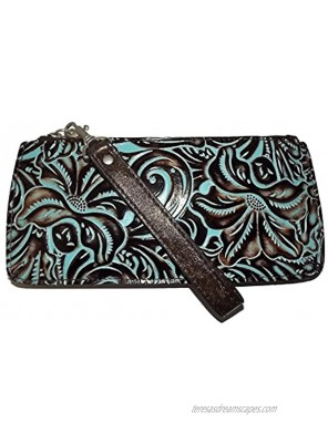 Patricia Nash Tooled Leather St Croce Clutch Wristlet Smartphone Wallet Turquoise Medium
