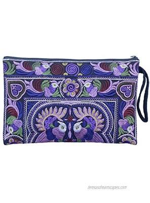 Sabai Jai Embroidered Clutch Purse with Wristlet Large Boho Purses and Handbags